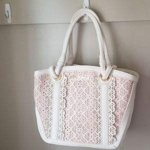 Betsey Johnson pink white cutout tote floral lined